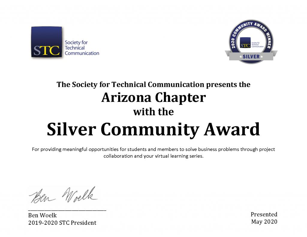 2020 Silver Community Achievement Award Certificate